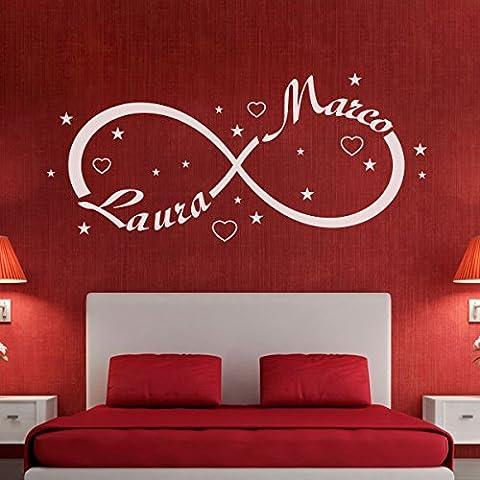 Wall sticker Simbolo Infinito Tema Amore con Tuo Nome Adesivi