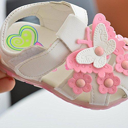 BZLine® Baby Kinder Mädchen Schmetterling Schuhe Prinzessin Sommer Sandalen Weiß