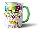 Geschenkedirekt Geburtstagstasse mit Alter in Tagen - Geburtstags-Geschenk Kaffeetasse Teetasse , Alter - Farbe:40 - Hellgrün