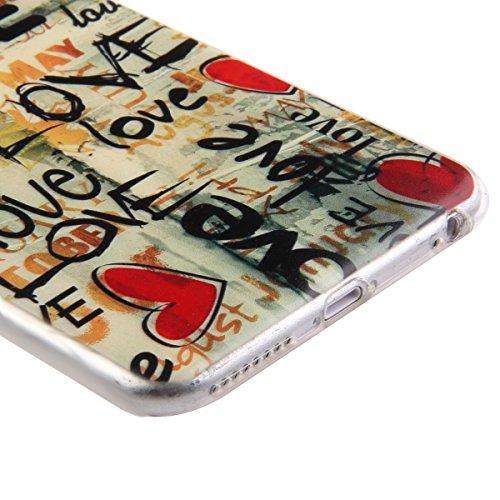 iPhone 6S Hülle,iPhone 6 Hülle [Scratch-Resistant],iPhone 6S / 6 Hülle 4.7, ISAKEN iPhone 6S 6 4.7 Ultra Slim Perfect Fit Bunt Muster TPU Clear Transparent Protective back Hülle Hüllen Beschützer Haut Liebe Herz