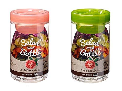 Ensemble de 2 saladiers Komax, avec étui à sauce salade anti-fuites (rose, vert)