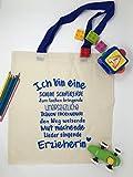 Geschenk Erzieherin Baumwollbeutel für Erzieherinnen mit blauen Henkeln