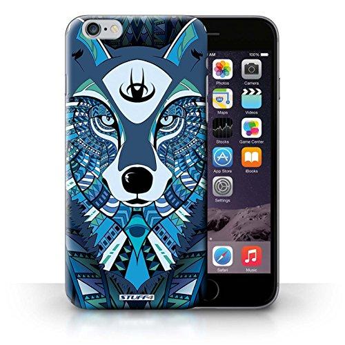 Coque en plastique pour iPhone 6+/Plus 5.5 Collection Motif Animaux Aztec - Loup-Cramoisi Loup-Bleu