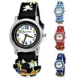 Pure Time Kinder Uhr Jungenuhr Mädchenuhr Silikon Kautschuk Schul Uhr Jungen Mädchen Armbanduhr Uhr mit 3D Piraten Sport Lern-Uhr Schul-Uhr Blau Hellblau Türkis Schwarz Rot (BL.1)