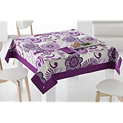 ES-TELA - Mantel estampado RIO color Morado - 155x155 cm. - Confección en aplique - Incluye 6 servilletas - 50% Algodón / 50% Poliéster