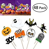 BESTO nzon 48 pezzi Halloween Cup Cake Toppers zucca design Picks Muffin Topper