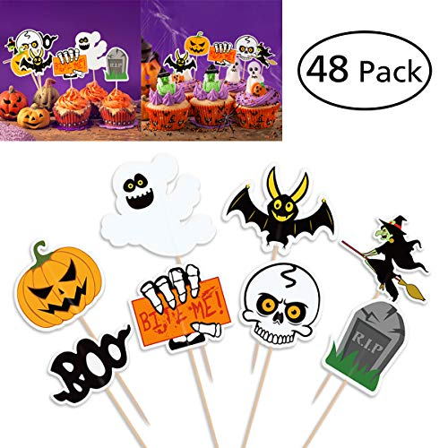 BESTONZON 48 STÜCKE Halloween Dekorationen Cupcake Toppers Kürbis Design Picks Muffin Topper (Cupcake Dekoration Halloween)
