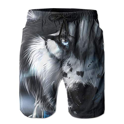 guolinadeou Anime Wolf Face Men's Beach Shorts Casual Classic Printing Quick Dry Swim Trunks with Pockets XL