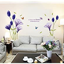 hallobo xxl wandtattoo lily wandaufkleber wandsticker wall sticker schmetterling blumen wohnzimmer schlafzimmer deko - Wandtattoo Wohnzimmer Blumen