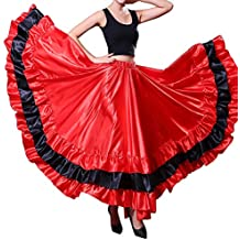 Backgarden Adulte Femmes Espagnol Flamenco Gitane Belly Danse Jupe  Performance ec2c74b43da