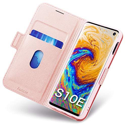 Aunote Galaxy S10e Hülle, Galaxy S10e Schutzhülle, Galaxy S10e Leder-Etui aus Leder Folio-Hülle Schutzhülle PU + TPU Soft Shockproof Flip-Cover und Ständer mit Kartenhalter (Rose Gold) -