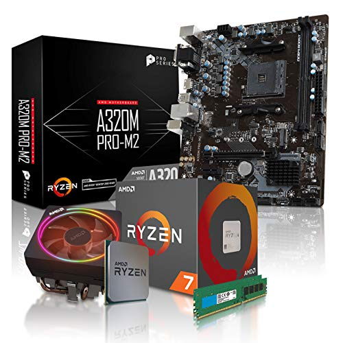 dercomputerladen PC Aufrüstkit AMD 7 2700X 8x3.7 GHz - 16GB DDR4, ohne onBoard Grafik, eigenständige Grafikkarte notwendig, Mainboard Bundle, Tuning Kit, für Spiele und Office geeignet