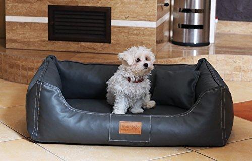 tierlando Orthopädisches Hundebett Maddox ORTHO VISCO in Kunstleder Hundesofa Hundekorb Gr. M 80 cm GRAPHIT - Graphit Leder