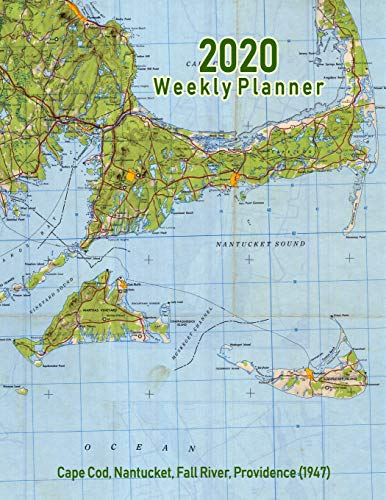 2020 Weekly Planner: Cape Cod, Nantucket, Fall River, Providence (1947): Vintage Topo Map Cover