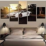 Pmhhc Peinture Toile Mur Art Photo Décoration Home Salon 5 Panneau Blanc De Luxe Sport Voiture Toile Imprimer Peinture-10X15Cmx2 10X20Cmx2 10X25Cm
