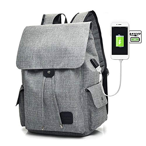 Teimose 15.6inch Laptop Backpack With USB Charging Port, iCasso Lightweight Functional Durable Nylon Travel Notebook Computer Bag Casual Daypack Rucksack for Men & Women (GRAY) -