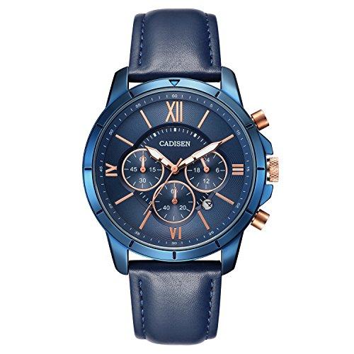 CADISEN Herren Uhren Wasserdicht Kalender Chronograph Quarz Casual mit Lederarmband Blau - Leder-band Sehen Gesicht Blau