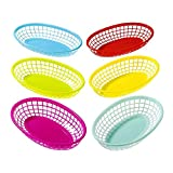 Talking Tables Cuban Fiesta Multicolor Plastic Food Baskets for a Picnic or Birthday, Multicolor (6 Pack)
