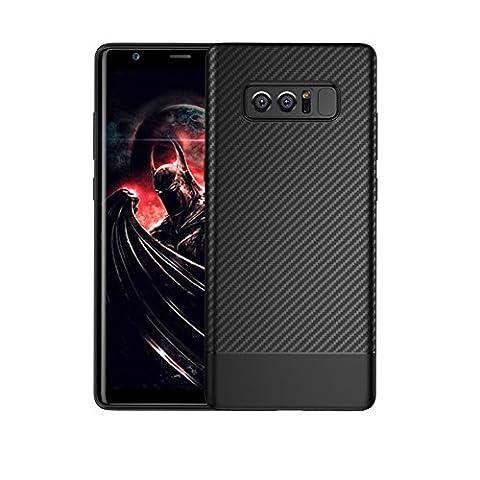 Coque en TPU souple pour Samsung Galaxy Note 8, EZS _ store Ultra fin en fibre de carbone Style Coque arrière de protection antichoc noir