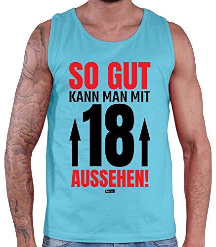 HARIZ  Herren Tank Top So Gut Kann Man Mit 18 Aussehen 3 18 Geburtstag Lustig Geschenkidee Plus Geschenkkarte Atoll Blau XXL