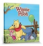 1art1 87681 Winnie Puuh der Bär - Ferkel, Iaah und Winnie Puuh mit Luftballon Poster Leinwandbild auf Keilrahmen 40 x 40 cm