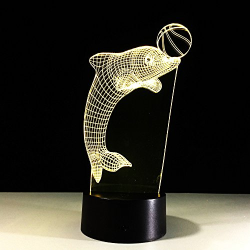 3d Lampe Delphin Spielen Fußball Kreis Lampe Kreative Tischlampe 3D Led Visuelle Neuheit Usb Nachtlicht Kinder Geschenke Tier Schlafen Beleuchtung Halloween Geschenk