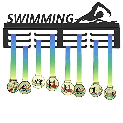 WEBIN, Porta medaglie da Nuoto, espositore per medaglie per nuotatori, trofei Sportivi, Supporto in Metallo Nero