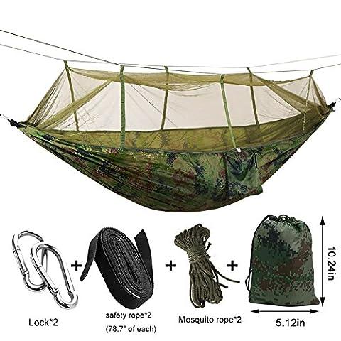 E. Life Camping Hängematte Set mit Moskitonetz tragbar 2Person, Sleeping Hängematten hängen Betten Ultra Leicht Max. Belastung von 440lbs mit gratis Baum Gurte