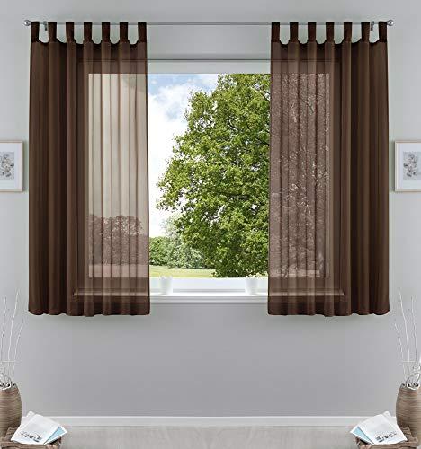 2er-Pack Gardinen Transparent Vorhang Set Wohnzimmer Voile Schlaufenschal mit Bleibandabschluß HxB 175x140 cmBraun, 61000CN