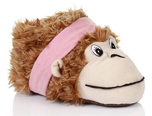 Unisex Tierhausschuhe aus Plüsch - Kinder & Erwachsene Affe