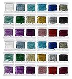 Juego de 36 piezas de hilo de bordar metálico de color arcoíris de alta calidad KOcean - Flor de bordado - Decorativo - Costuras o agujas de mano trabajo mejor kit