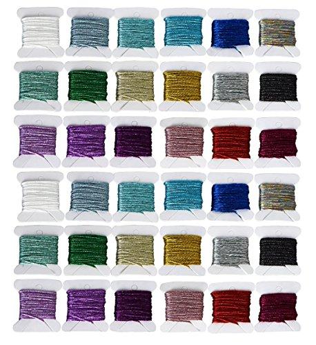 Juego 36 piezas hilo bordar metálico color arcoíris