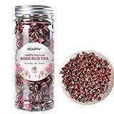 MQUPIN Tè biologico alla rosa in bocciolo, Petalo di rosa rossa essiccata, Essiccato Golden-Rim Rose Fiori fragrante naturale (90g/3.2OZ)