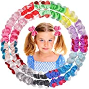 30Pcs 4Inch Hair Bows Boutique Double Layer Grosgrain Ribbon Bows Clips Alligator Hair Clips Hair Accessories