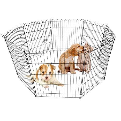 AUFUN Welpenauslauf Freilaufgehege Freigehege für Kleintiere und Nager - aus 8 Elemente (61x61cm)