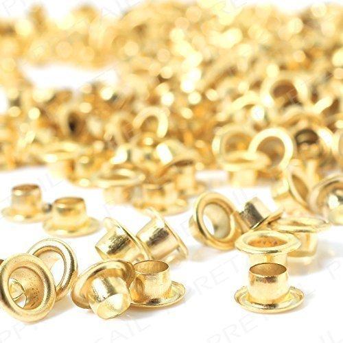 100x 6mm Tüllen Ösen mit Scheiben für Leder Handwerk-Zubehör für dekorative Bänder hinzufügen, Schnürung und Stoff in Kunst und nähprojekte-Ideal für Taschen, Kleidung und Scrapbooking, Messing, gold, 6 mm (Snap-on-Ösen)
