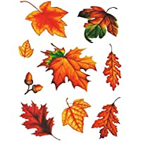 RW Fensterbild Set 9-teilig Herbst Blätter Laub Blatt Eicheln statisch selbsthaftend Fensterdeko Herbstdeko