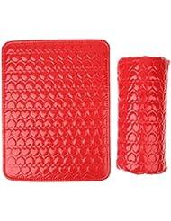 Set de Tapis et Coussin Repose-main Pu Cuir pour Nail Art Manucure Outil - Rouge