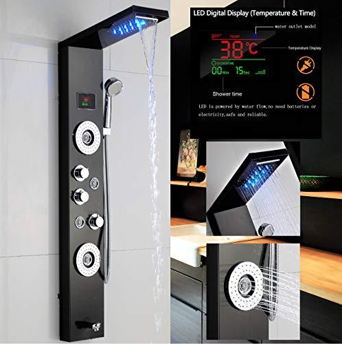 Colonne de douche LED de haute qualité en acier inoxydable avec affichage de la température et 2 fonctions de massage Couleur: Noir