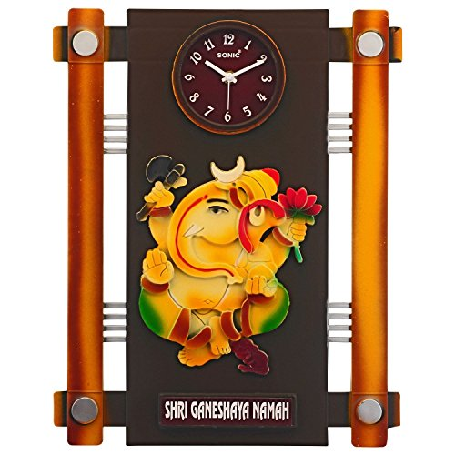 sonic lord ganesh antique design wall clock wooden shape 3d view  available at amazon for Rs.370