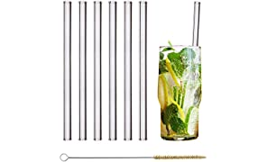 HALM Glas Strohhalme Wiederverwendbar Trinkhalm - 6 Stück gerade 20 cm + plastikfreie Reinigungsbürste - Spülmaschinenfest - Nachhaltig - Glastrinkhalme Glasstrohalme für Long-Drinks, Smoothies, Saft