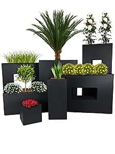 PFLANZWERK® Vaso da fiori CUBE TOWER TUB DIVIDER Antracite BESTSELLER *Resistente al gelo* *Protezione UV* *Europea di qualità*