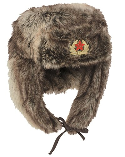 Mil-Tec Shapka Russische Wintermütze Pelzmütze Braun Tschapka Fellmütze Mütze (XL) (Xl Russische Mütze)