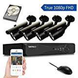 SANSCO S4D4C1T All-in-One Smart CCTV Camera System (Pro True 1080p DVR, 4 2MP FHD Cameras, 1TB HDD) - Black 1 Pack
