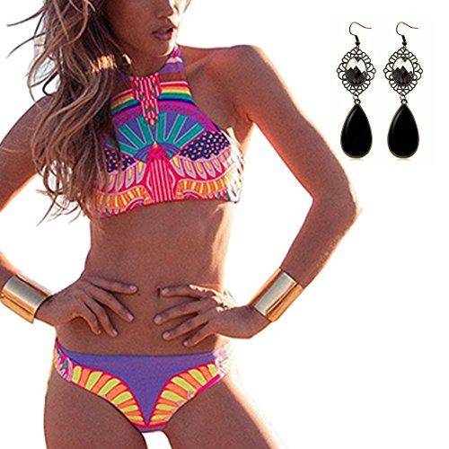 Sitengle Damen Bikini Sets Mehrfarbig Push up Brazilian Style Paisley Geblümt Bademode Badeanzüge Bathing Suit Ethnischen Tauchanzug Hot Bikini
