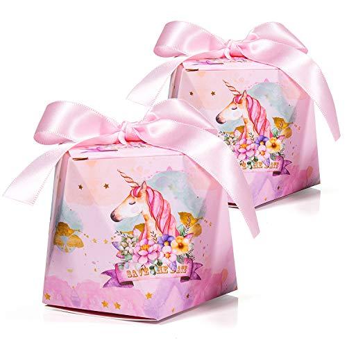 30 x Cajas de Caramelo Unicornio con Cintas, MOOKLIN Forma de Diamante Cajas de Favor Rosado de Papel para Invitados de Fiesta aniversario de boda cumpleaños Navidad Graduación - L