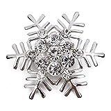 SNOWINSPRING 1 x stilvolle Elegante Weihnachten Schneeflocke Diamant Hochzeit Braut Pin Broschen Fuer Frauen Maedchen Schmuck (Silber)