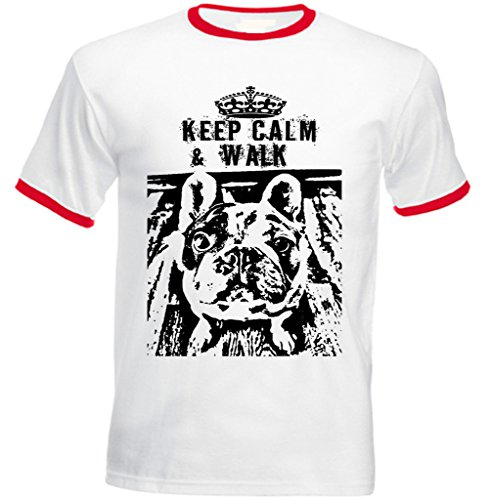 Teesquare1st Men's FRENCH BULLDOG KEEP CALM & WALK PB 5 Red Ringer T-Shirt Size XXLarge