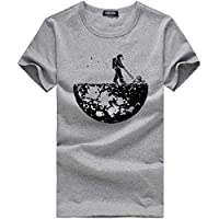 Hombres Tapas de la Camiseta JiaMeng Camiseta Estampada Camiseta Manga Corta Camiseta Blusa Ajustada Camisa Hombre Deporte al Aire Libre Fitness Estilo