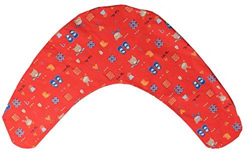 Stillkissenbezug 190 cm x 40 cm - 100 % Baumwolle Farbe Rot mit liebevollen Kindermotiv